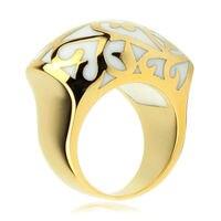 Fashion ball shape 316L stainless steel finger ring white flower resin Enamel rings women yellow gold ring