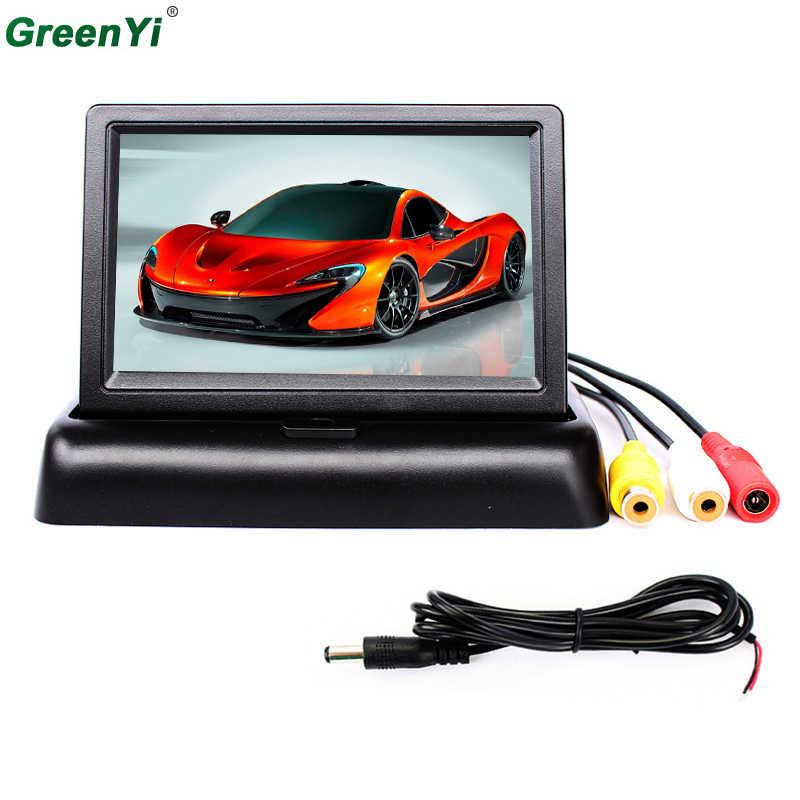 شاشة لوقوف السيارات بمجلد سطح المكتب إضاءة خلفية رقمية LED مرآة TFT 4.3 بوصة شاشة سيارة LCD مع 2 مدخل فيديو للعرض الخلفي