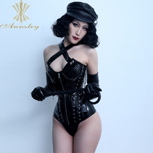 Annzley Corset Black Overbust-Strap Women Front for Lacings Zipper