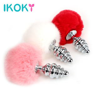 IKOKY 3 Colors Metal Butt Plug Rabbit Tail Stainless Steel Female Male Masturbation Anal Plug Bead Sex Toys for Women Men Gay