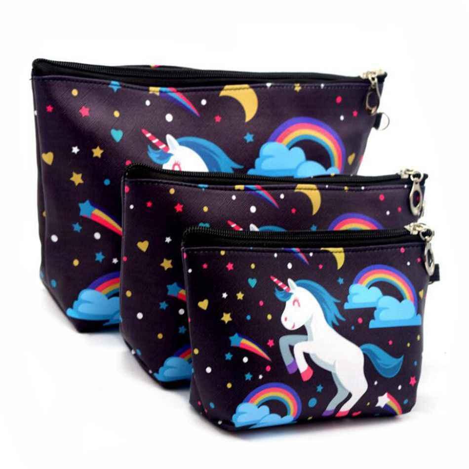 733aeb10fe20e8 3 Sets Of Suits Unicorn Flamingo Cosmetic Bag Large Size Makeup Bag  Necessaire Travel Bags Make