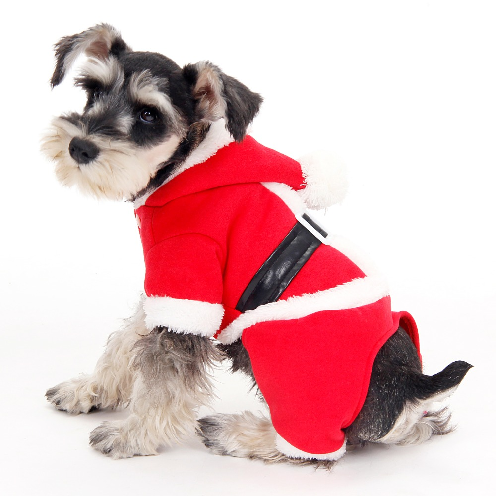 Wholesale Pet Clothing Christmas Puppy Suits Dog Coat with Hat Dog Hooded Clothes Spring/Winter with Black Belt S/M/L/XL