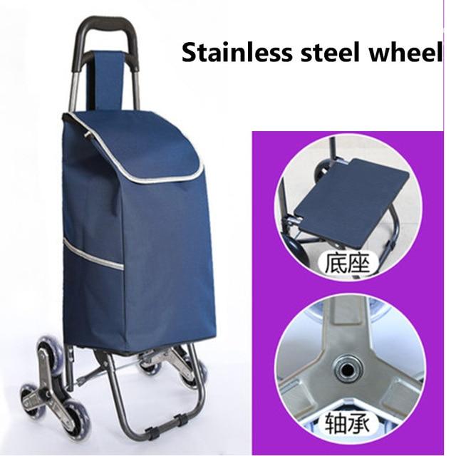 Échelle d'escalier à trois roues panier panier panier panier de ménage remorque chariot Portable 35L sac à provisions grand