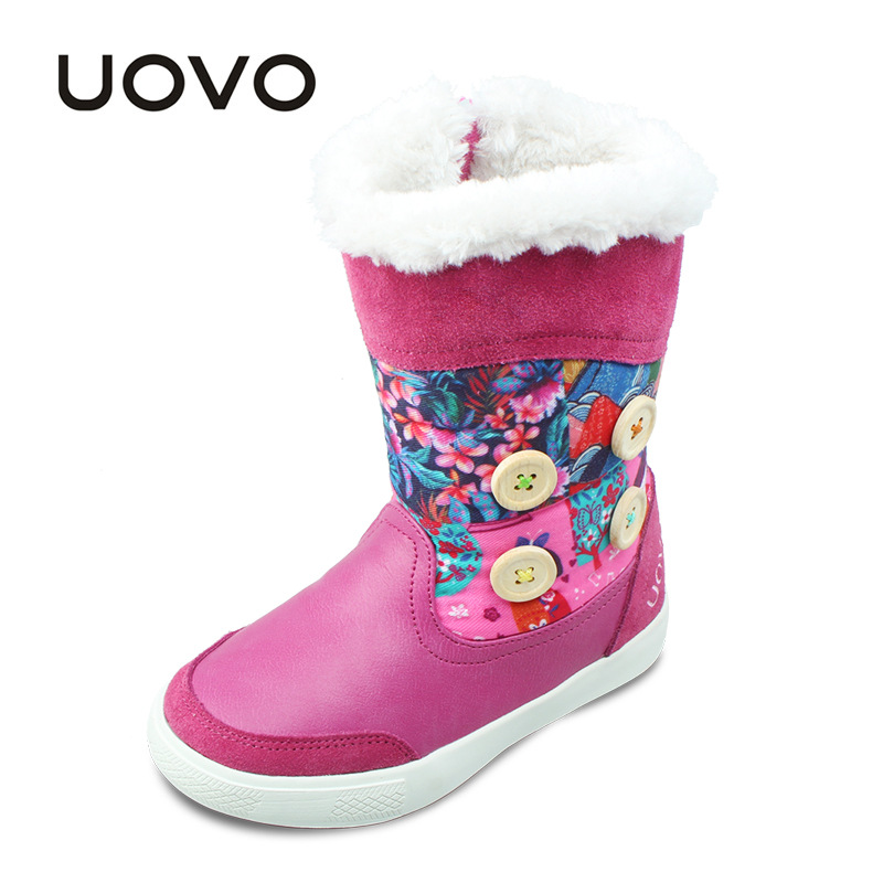 UOVO Brand Girls Winter Boots Children Boots Flowers Kids Shoes Snow Totem Plush Girl Boots High Quality Mid-Calf Fashion Boot 30 degree pu winter warm plush shoes fashion children s thick shoes girls high snow boot martin boots for kids accessories