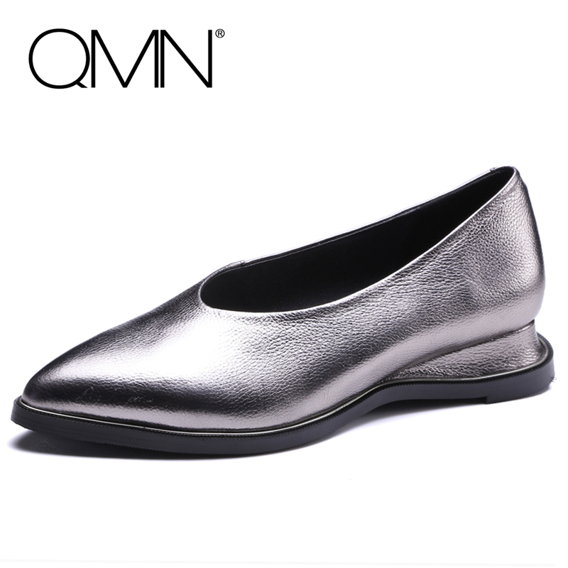 QMN women metallic textured genuine leather flats Women Pointed Toe Slip On Casual Shoes Woman Natural Leather Loafers 34-43 qmn women crystal embellished natural suede brogue shoes women square toe platform oxfords shoes woman genuine leather flats