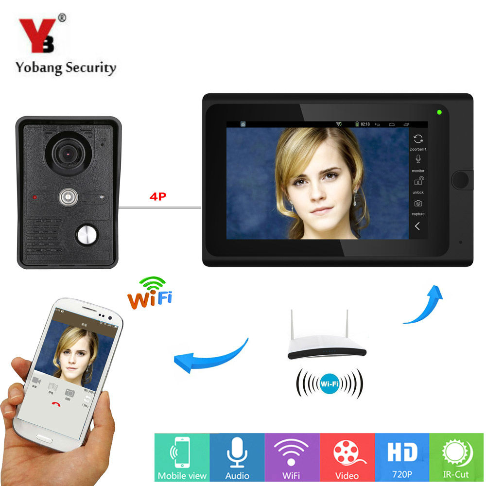 Yobang Security 7inch WiFi Video Door Phone Bell With Indoor Screen IOS Android APP Control Visual Doorbell Door Camera Intercom 2015 free shipping wifi video door phone door bell intercom systems app can be run in android and ios devices