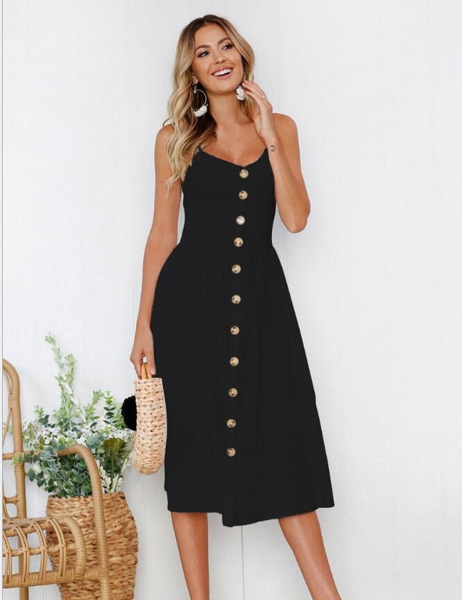 Summer Sexy Black and White Solid Suspender Button Dress Casual beach pockets women sundress vestidos Elegant daily dess female