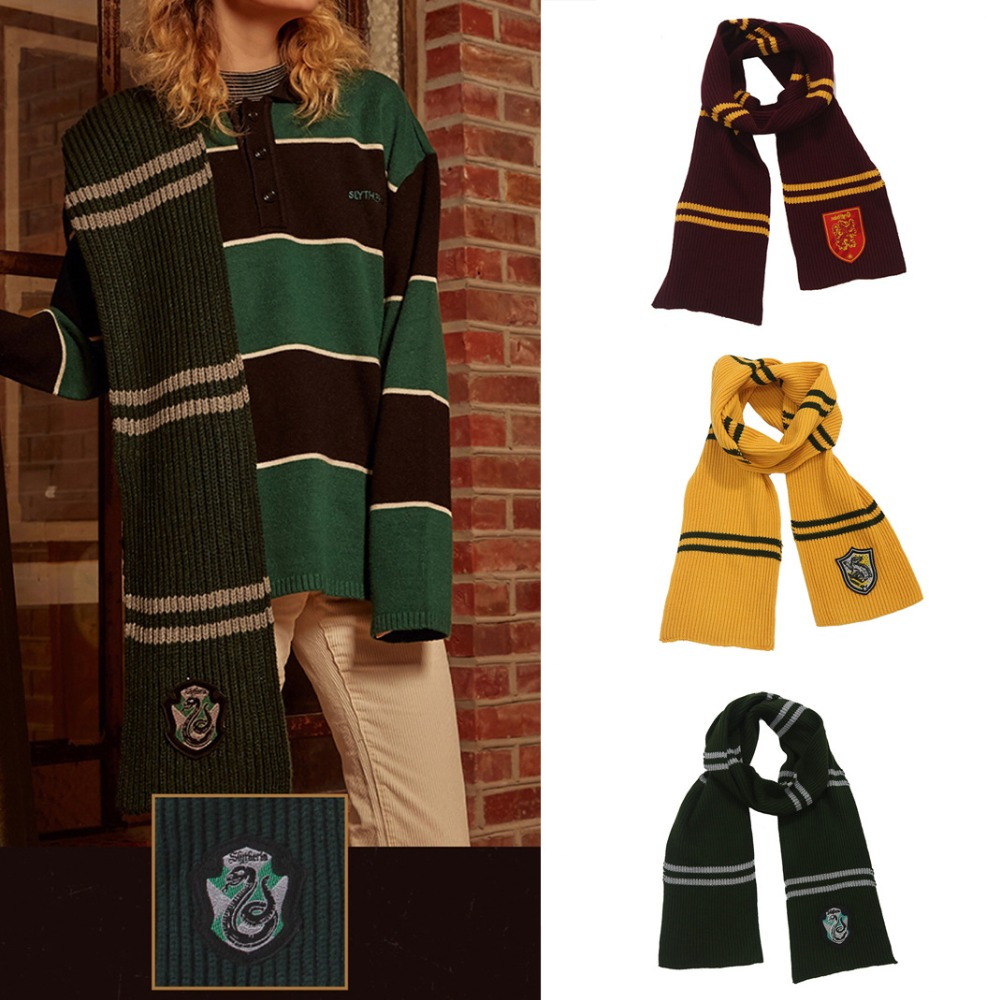 190 X19cm Long Thick Harry Scarf Hogwarts Students Quality Cosplay Gryffindor Slytherin Hufflerpuff Ravenclaw Colleges