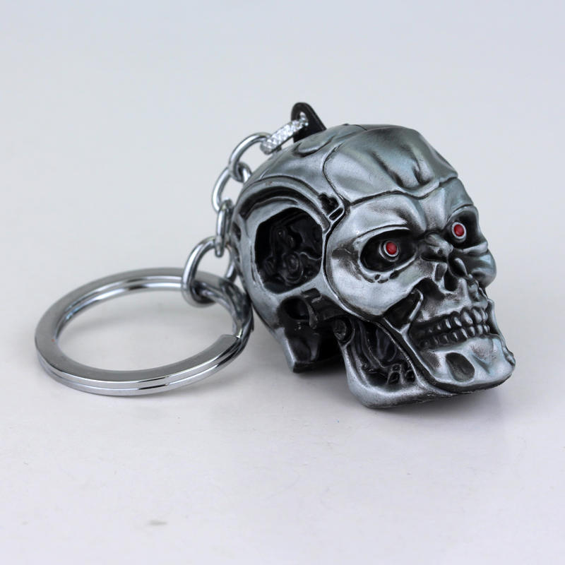 3D Terminator Schwarzenegger Salvation T800 Endo Skull Head Mask Action Figure Key Ring Chain SilverToys Animation Boys Gift Toy neca the terminator 2 action figure t 800 endoskeleton classic figure toy 718cm
