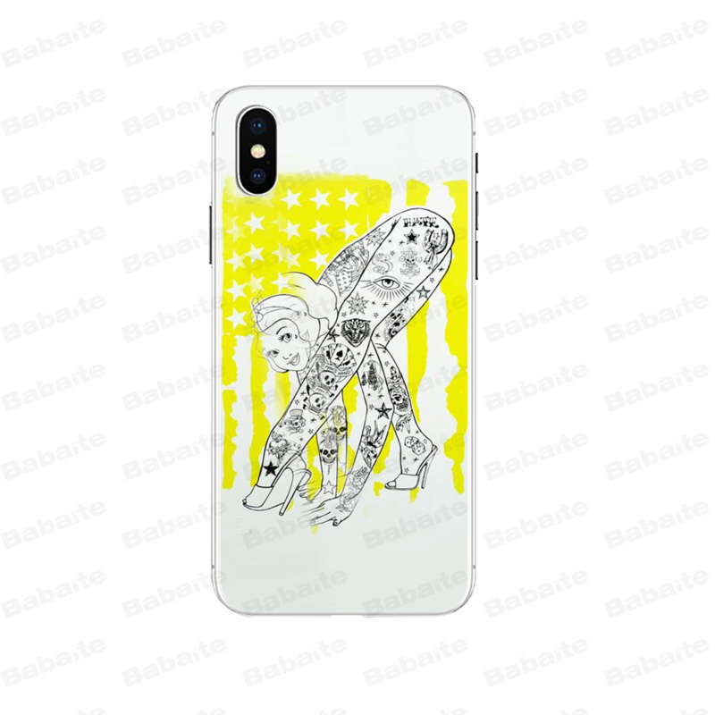 Babaite Tattooed princess Alice Ariel Jasmine Cinderella for iPhone case 7 7plus 6S 6plus 8 8Plus X Xs MAX 5 5S XR in Half wrapped Cases from Cellphones Telecommunications