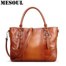 Vintage Genuine Soft Leather Large Tote Shoulder Bag Big Capacity Handbag Luxury Design Ladies Crossbody Bags