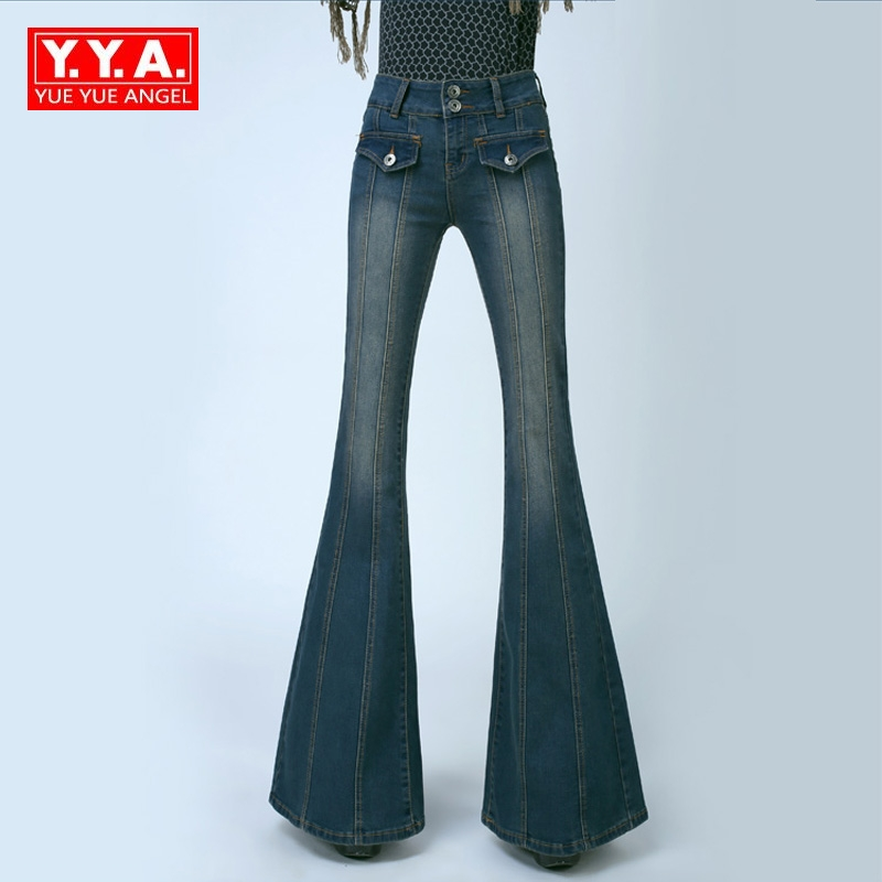 купить Retro Women Plus Size High Waist Slim Fit Jeans Female Bell Bottom Bootcut Trousers Fashion Ladies Wide Leg Jeans Pants Pockets дешево