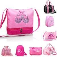 Girls Children Embroidered Dance Shoes Waterproof Ballet Bag Kawaii Pink Sequin Ballet Cross Body Bag Cute