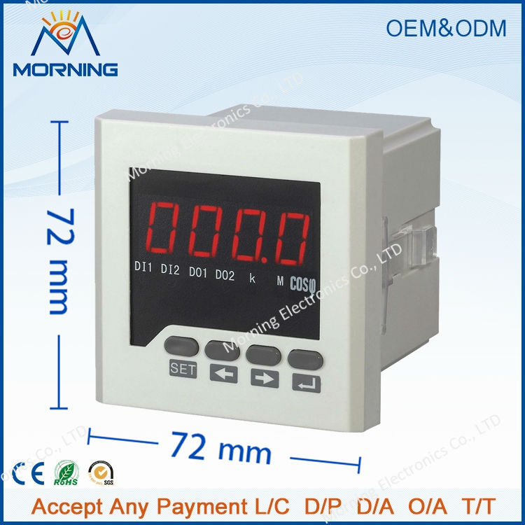 H61 72*72mm factory price LED display 1-phase digital power factor meter, measure power factor with high-precision me 3h61 72 72mm led display 3 phase digital power factor meter support switch input and transmitting output