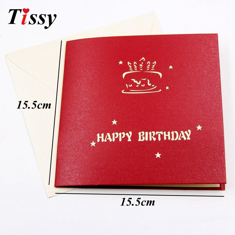 1PC 3D Happy Birthday Cards Birthday Cake Laser Cut Folding Greeting ...
