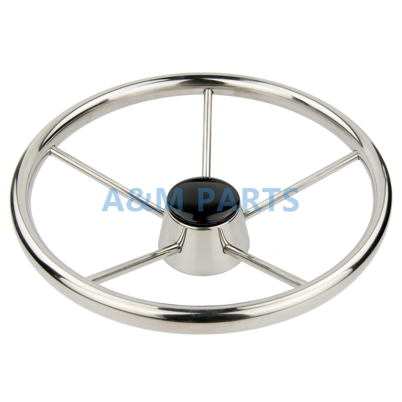 13.5 Boat Steering Wheel Stainless Steel Marine Steering 5 Spoke 25 Degree