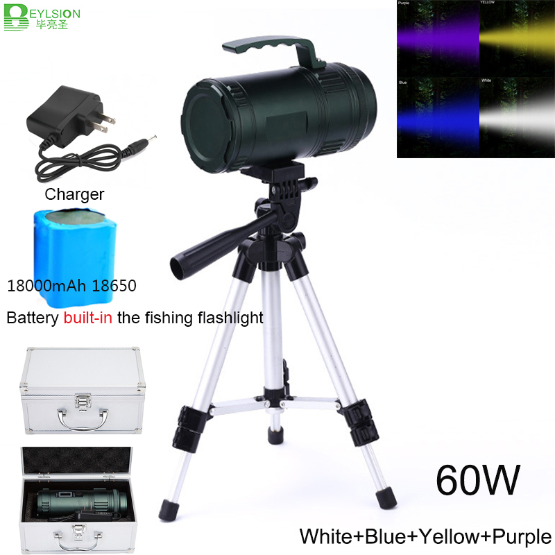 BEYLSION 60W Professional Fishing Torch 18000mAh Army Green Super Bright Fishing Flashlight Rechargeable Lamp Searching Light uniquefire uf 1200 super bright cree u2 lamp flashlight light from outdoor hiking night fishing hunting led flashlight