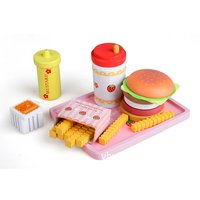 Wooden Fast Food Hamburger Play Set Pretend Play Role Playing Game Educational Toys Birthday Gift for Children Kids Toddler