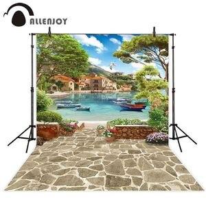 Image 2 - Allenjoy paysage photographie toile de fond venise été lac navire pierre fleur photo arrière plan studio photocall photophone vue
