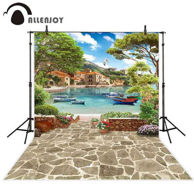 Allenjoy scenery photography backdrop venice summer lake ship stone flower photo background studio photocall photophone view