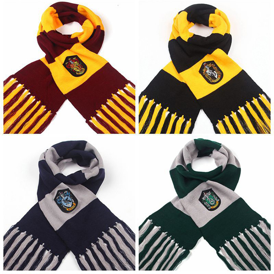 Harri Potter Scarves Gryffindor/Slytherin/Hufflepuff/Ravenclaw Scarves Cosplay Costumes Near Year Gift Hermione Malfoy Scarf