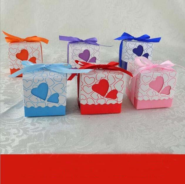 Coeur coloré bonbons chocolat papier boîte-cadeau pour mariage anniversaire thé fête faveur décoration DHL fedex EMS
