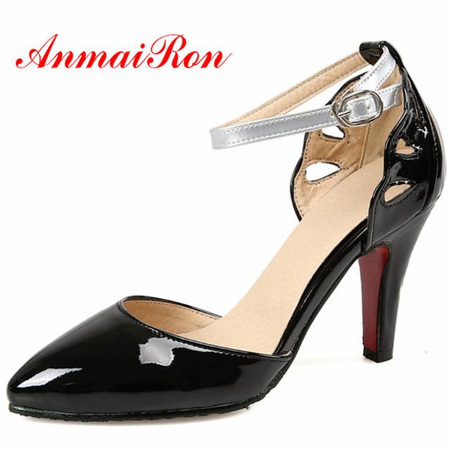 ANMAIRON Nueva Moda de Punta estrecha Tacones Altos Bombea los zapatos Grandes del Tamaño 34-43 4 Colores Negro Rojo PU de Cuero Primavera/Otoño Bombas de Las Sandalias zapatos