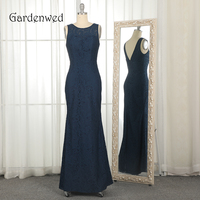 Gardenwed Navy Blue Lace Evening Dress Long Vintage O Neck Backless Sheath Woman Party Formal Gowns