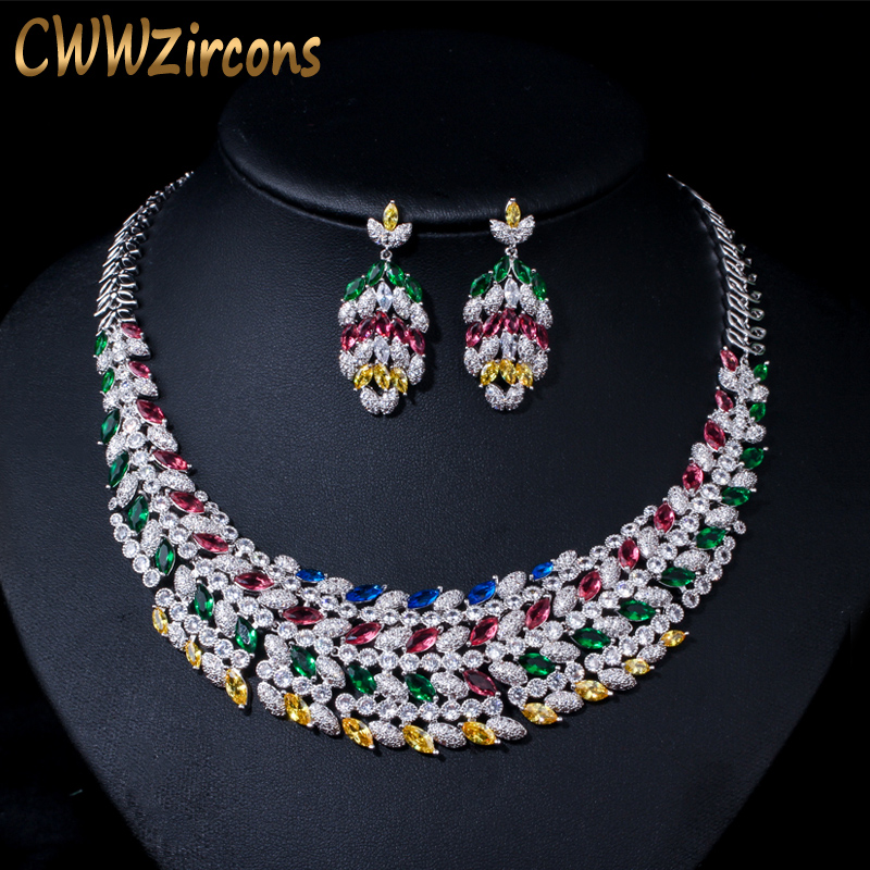 CWWZircons Shiny Multi Color Cubic Zirconia Large Heavy Bridal Necklace Jewelry Set for Brides Wedding Dress
