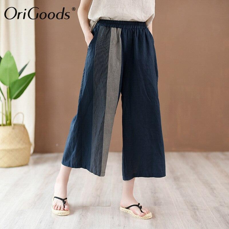 OriGoods été pantalon à jambes larges femmes 2019 nouveau pantalon à jambes larges en lin Vintage décontracté taille élastique pantalon à jambes larges Capris C250