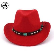 50f3e8fc73 FS Primavera Inverno Cinto Étnica Vermelho Chapéus de Feltro Fedora Aba  Larga Para Homens Mulheres Elegante Do Vintage Top Chapé.