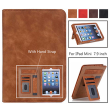 Retro Case for iPad mini 1/2/3/4 Tablet Stand PU Leather Magnet Smart Cover Auto Sleep/Wake for iPad Mini Case with Hand Strap for ipad mini 1 2 3 case 360° rotating flip pu leather case cover for ipad mini 3 2 1 stand cases smart tablet cover sleep wake