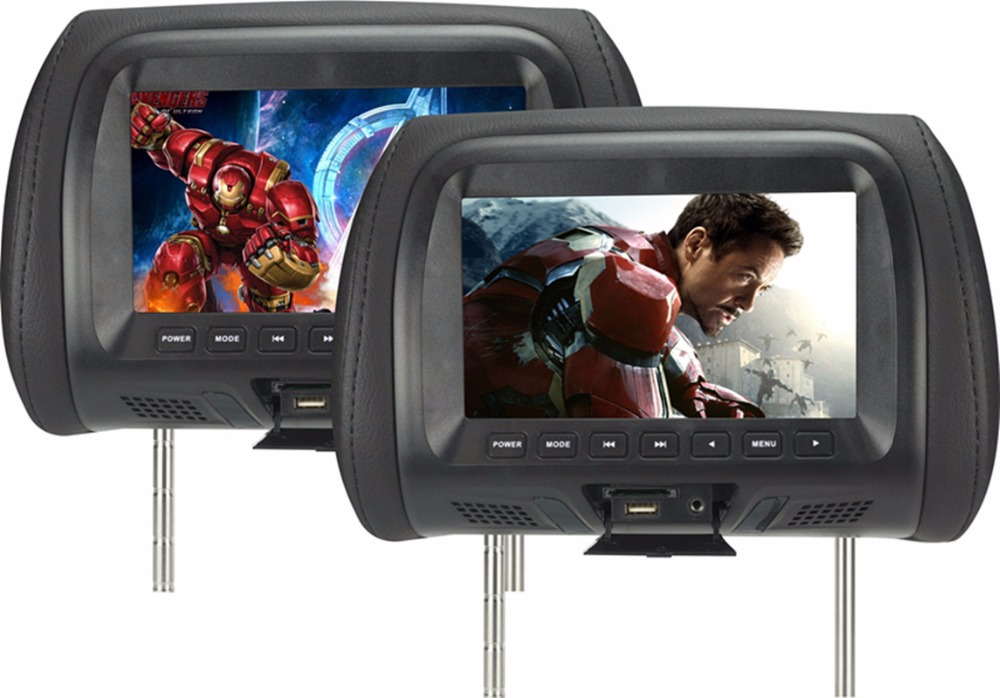 One pair 7 Inch Car Headrest Monitor LED Digital Screen Pillow Monitor MP5 Player & USB and SD Functions SH7048-MP5 car pillow zipper cover 2x 9 hd touch screen car headrest dvd player with 32 bit game usb sd ir fm transmitter no ir headphones