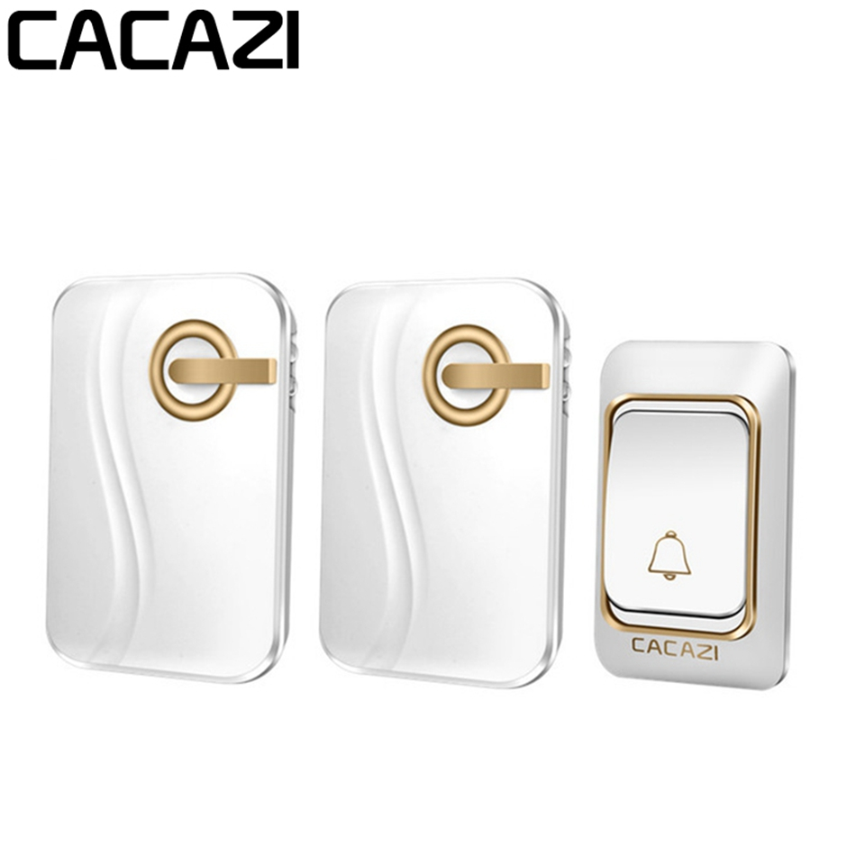 CACAZI Wireless Doorbell DC Battery-operated 200M Remote Waterproof  4 Levels Volume 36 Rings Door Chime Cordless Bell