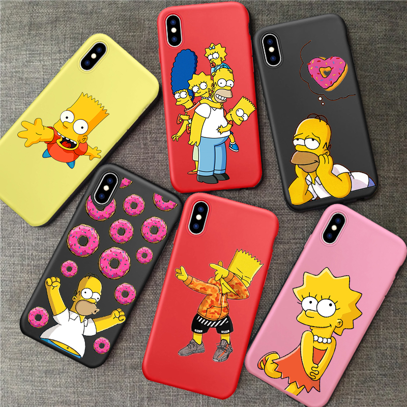 Homer J Simpson funny Bart Simpson Coque Cartoon Phone <font><b>case</b></font> for <font><b>iPhone</b></font> 11 pro 5 5S 6s 8 7 <font><b>Plus</b></font> XR X XS Max TPU Silicone <font><b>Red</b></font> <font><b>case</b></font> image