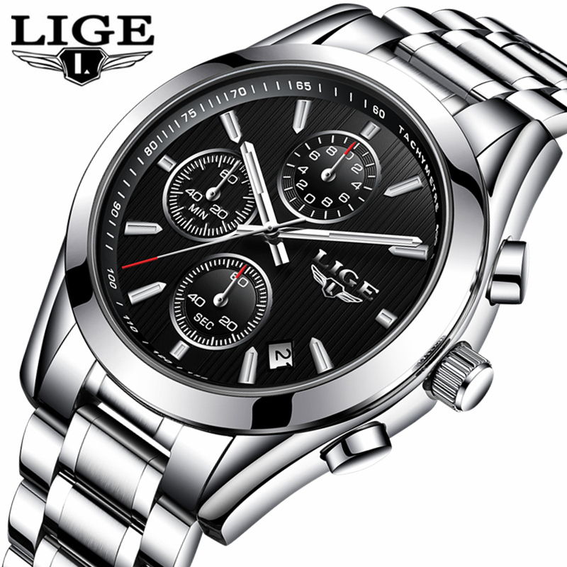 Mens Watches LIGE Top Brand Luxury Full Steel Business Clock Quartz Watch Men Casual Waterproof Sports Watches Relogio Masculino migeer relogio masculino luxury business wrist watches men top brand roman numerals stainless steel quartz watch mens clock zer