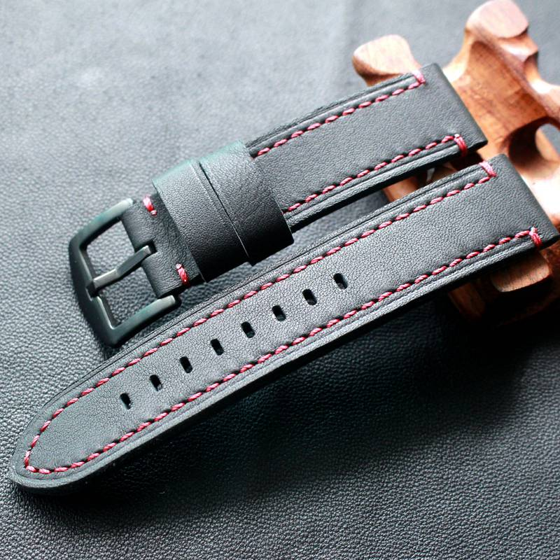 Image 3 - TOTOY Black Red Stitch Leather Strap 18MM 19MM 20MM 21MM 22MM Black Stitch Black Leather Watch Strap Trimming Process Bracelet-in Watchbands from Watches