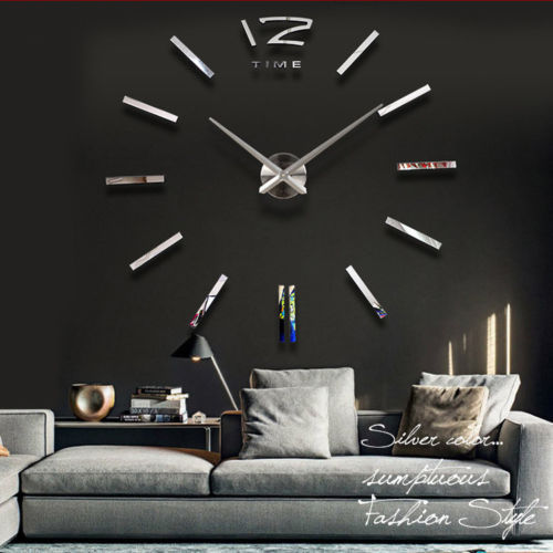 high quality big size luxury diy 3d wall clock digital modern mirror