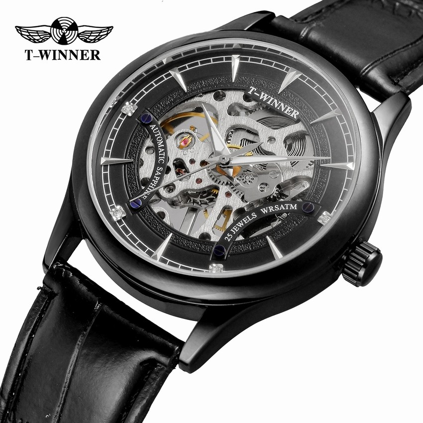 2018 Winner Men Mechanical Watch black Hands Skeleton Full Golden Design Wristwatch Top Brand Luxury Clock Christmas Gift winner watch fashion black leather strap skeleton luxury design clock men watches top luxury mechanical wristwatch gift