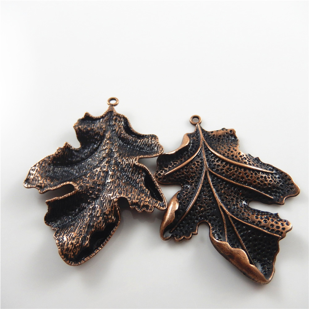 2pcs/lot Red Copper Vintage Leaves Shape Necklace Pendant Women Gift - Fashion Jewelry - Photo 4