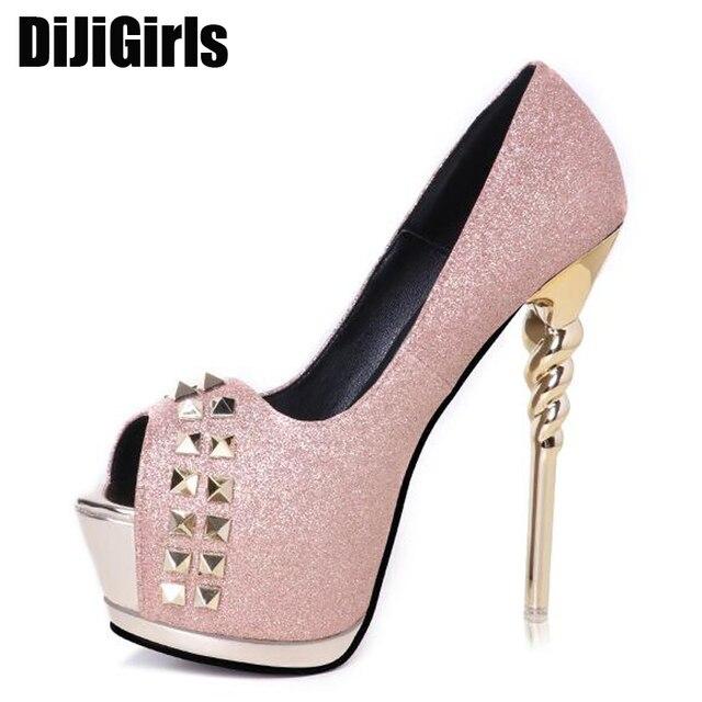 glitter shoes open toe pink heels Women Shoes High Heels pumps Rivets pumps  Prom Shoes Woman pumps silver wedding shoes X586 2aba73cbe3