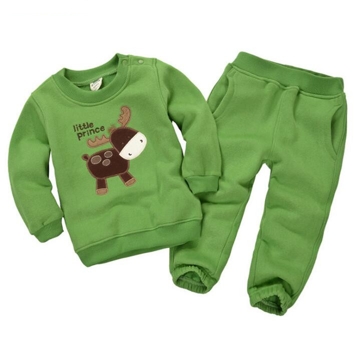 2018 kids girls boy Thickened T- shirt+pant clothing suits , 16 colours children`s clothing for spring winter baby clothes set