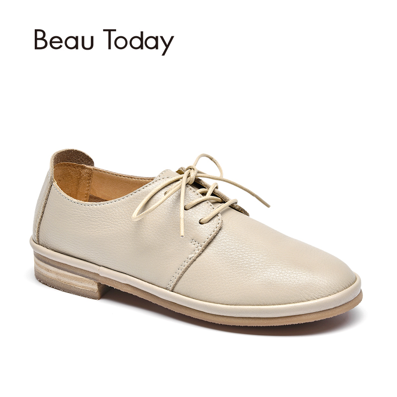 BeauToday Flat Shoes Women Good Quality Round Toe Lace-Up Cow Leather Lady Flats Brand Genuine Leather Derby Shoes 24020 beautoday oxford shoes women fashion lace up round toe brogue style waxing genuine cow leather ladies flats 21085
