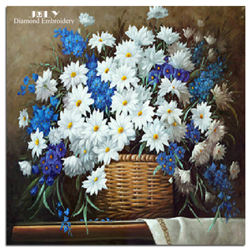 Diamond mosaic painting little daisy blue and white embroidery with diamond handcraft flowers small chrysanthemum picture basket