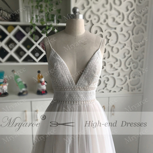Image 5 - Mryarce סקסי עמוק V צוואר גב פתוח בוהמי חתונת שמלת ספגטי רצועות מקסים תחרה טול חוף כלה שמלות