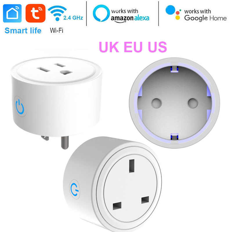 US/EU/UK Mini enchufe inteligente WiFi adaptador remoto inalámbrico con temporizador encendido/apagado Compatible con Alexa Google Voz