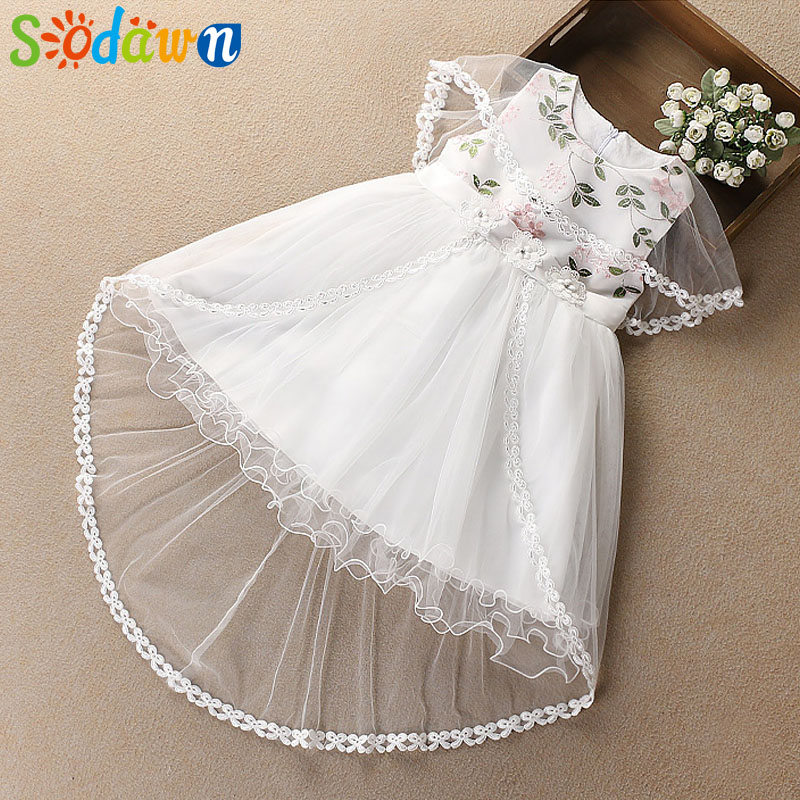 Sodawn 2018 New Children Cothing Short Front And Long Leaves Embroidered Sleeveless Dress Girls Clothes Fashion Princess Dress