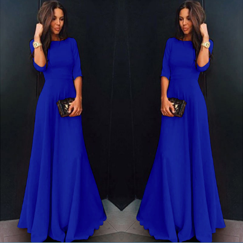 Womens Long Chiffon Long Sleeve Evening Formal Party Prom Ball Gow