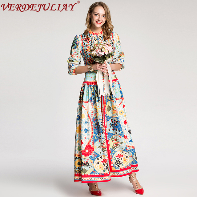 dbfe17935e9f Ethnic Dresses 2019 Spring Summer Women Fashion Novelty Color Patchwork  Print Empire Slim European Long Vacation