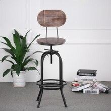 цена на iKayaa Metal Industrial Bar Stool Height Adjustable Swivel Pinewood Top Dining Chair Pipe Style Barstool US Stock